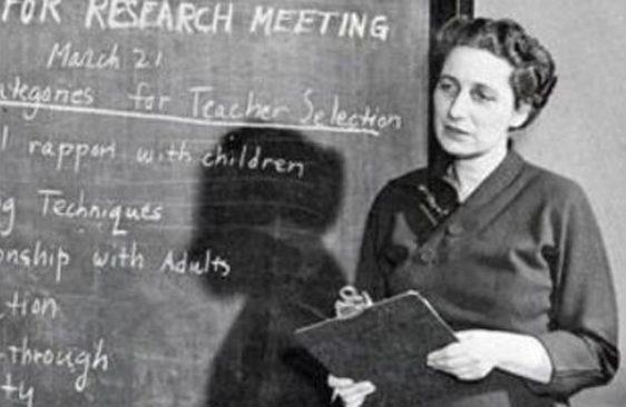 Lucy Sprague Mitchell at chalkboard