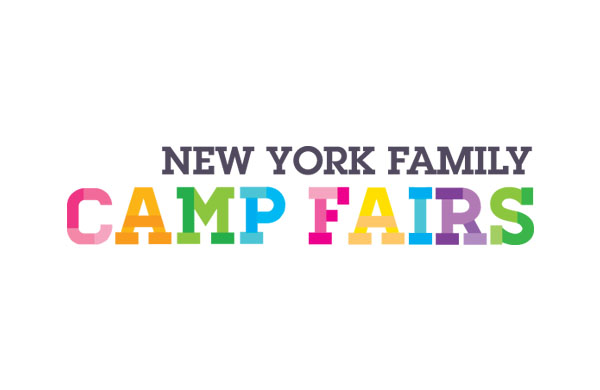 "The New York Family Camp Fair Logo uses gray letters for the words New York Family followed by larger ""Camp Fair"" text just beneath it. Each letter of the Camp Fair text is a different color."
