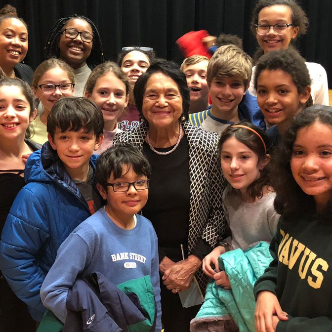 Dolores Huerta with students at Bank Street