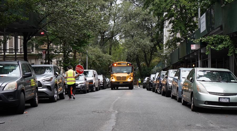 Bank Street school bus coming down the street