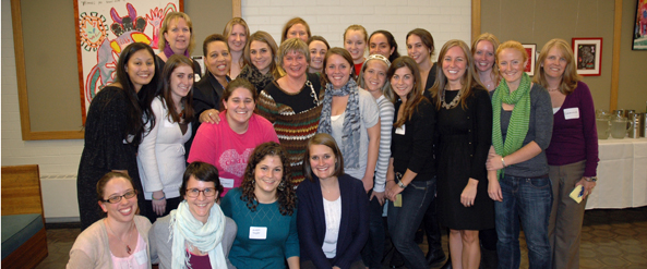Faculty, students, and alumni at the Child Life Reunion