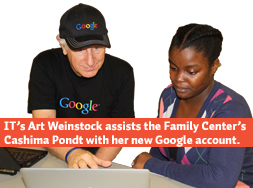 Art Weinstock helps the Family Center's Cashima Pondt with her Gmail account