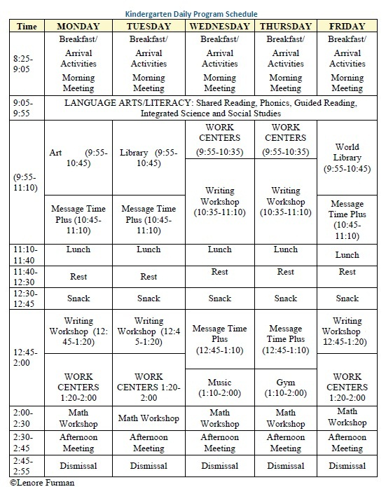 Kindergarten Daily Program Schedule