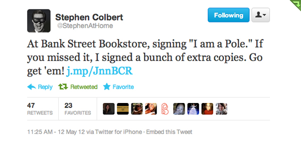 Stephen Colbert tweets about visiting Bank Street