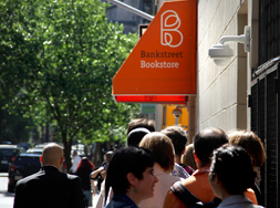 Fans line up at Bank Street Bookstore for Stephen Colbert