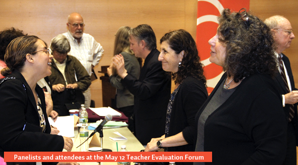 Attendees and panelists at the May 12 Teacher Evaluation Forum