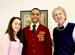 Eddy Cruz (center) with his Liberty LEADS advisor Gina Jones (left) and Elizabeth Dickey, Bank Street's president