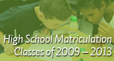 High School Matriculation Classes of 2009 – 2013