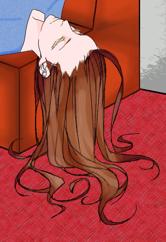 Girl with Long Hair on Edge of Couch - Drawing
