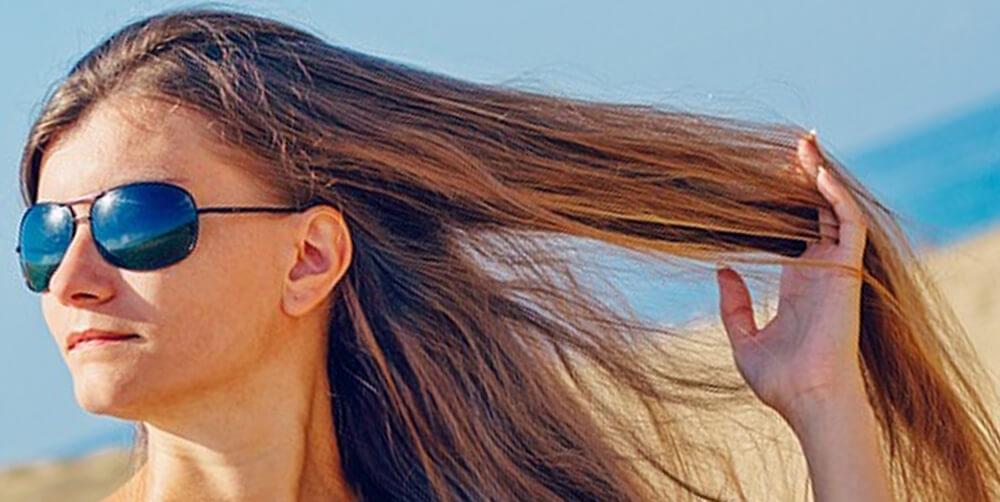 Woman with Long Hair at Beach