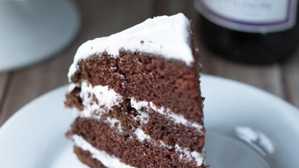 Chocolate Cabernet Sauvignon Cake with Vanilla Bean Buttercream