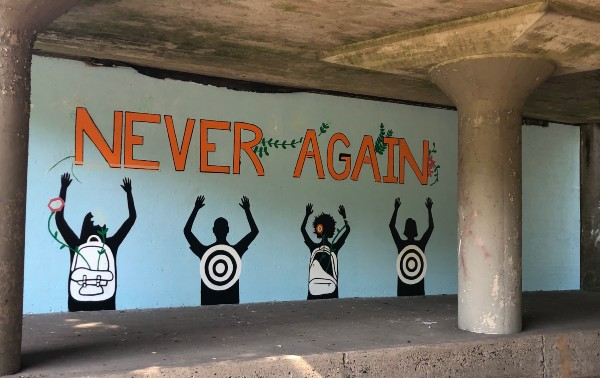Montclair's Chestnut Street Has Anti-Gun Violence #NeverAgain Mural Created By Students | Baristanet