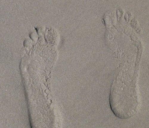barefoot on beach