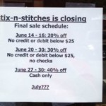 Closing Sales at Go Lightly and Stix-N-Stitches
