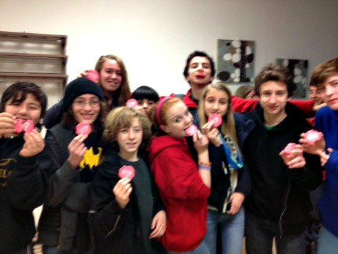Montclair Cooperative School students get 4-way stop sign, celebrate with cookies.