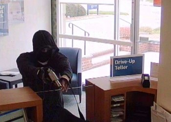 Surveillance photo of robbery suspect, PNC Bank, Montclair, 4/22 (click to enlarge)