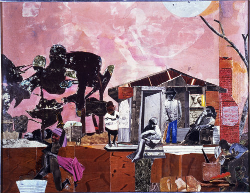 Romare Howard Bearden (1911-1988)  Late Afternoon, 1971  collage and mixed media on board  Montclair Art Museum: Museum purchase; funds provided by The William Lightfoot Schultz Foundation  1979.6  Art © Romare Bearden Foundation/Licensed by VAGA, New York, NY