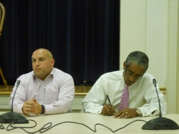 Bloomfield Mayor Michael Venezia (left) listens during the DeCamp community meeting while State Senator Ronald Rice (D-28th Dist.) takes notes.