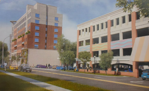 The proposed MC Hotel as seen along Orange Road from the south. Montclair Planning Board Chairman John Wynn objected to the ninth-story configuration of the rooftop mechanical room, and board member Lanny Kurzweil suggested a mural for the blank wall hiding the porte-cochere entrance.