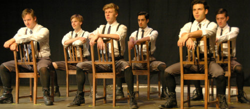 The boys, left to right: Georg (Joseph Tible), Otto (Calvin Rezen), Moritz (Chris Newhouse), Hanschen (Danny Sims), Melchior (Robert Peterpaul) and Ernst (Nick Bissel)