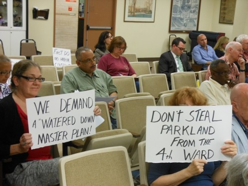 Montclair residents - including Patti Grunther, left - make their opinions on the Nishuane Well clear.