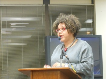 Jazz singer Melissa Walker addresses the Montclair Township Council about the 2014 Montclair Jazz Festival.