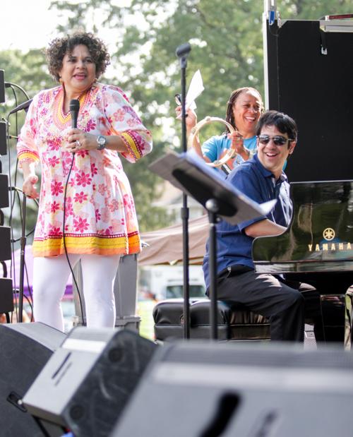 S. Epatha Merkerson looks on as Jazz House Kids founder Melissa Walker singing Nina Simone with Oscar Perez on keys.