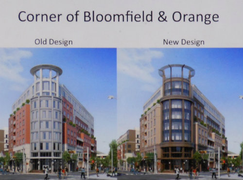 The proposed MC Hotel at the corner of Bloomfield Avenue and Orange Road, before (left) and after architectural revisions