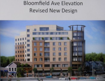 The proposed MC Hotel along Bloomfield Avenue, after architectural revisions