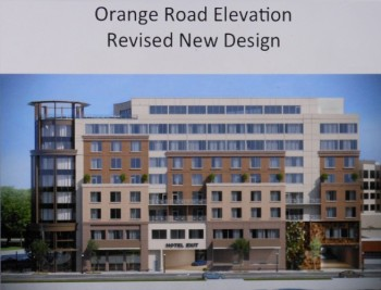 The proposed MC Hotel along Orange Road,  after architectural revisions