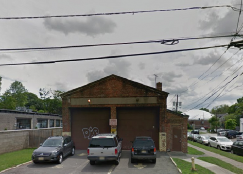 The former Division of Motor Vehicles inspection station in Montclair, at the corner of Forest and Label Streets, July 2013.  Image courtesy of Google.