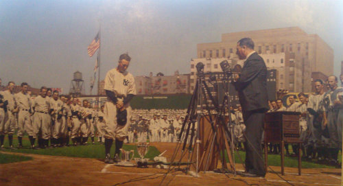 """A painting of Lou Gehrig delivering his """"luckiest man"""" speech is part of the Museum's exhibit."""