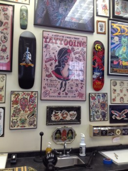 Tattoo designs hanging in Jinx Proof Tattoo and Body Piercing.