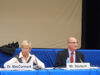 Montclair Schools Superintendent Penny MacCormack and Montclair Board of Education president David Deutsch