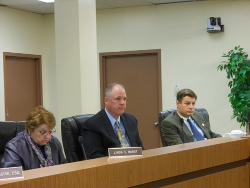 Acting Montclair Township Manager Timothy Stafford (center) sits between Township Clerk Linda Wanat and First Ward Councilor William Hurlock at his first Montclair Township Council meeting.