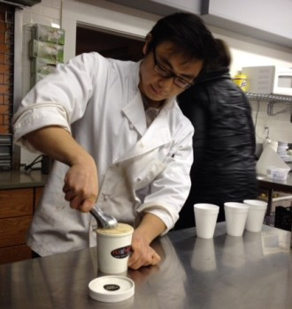 Yang Bai, founder and CEO, Flexfrost ice cream, scoops out samples in Montclair's St. Luke's Episcopal Church's commercial kitchen, a space he rents.