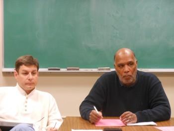 Montclair Mayor Robert Jackson (right) and  First Ward Councilor William Hurlock at the January 27 Montclair Township Council meeting
