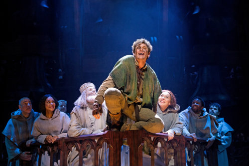 : The Hunchback of Notre Dame at Paper Mill Playhouse; Photo by Matthew Murphy; Michael Arden (Quasimodo) and the company of The Hunchback of Notre Dame