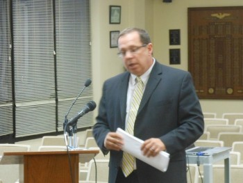 Bob Beinecke presents the 2015 Montclair Township budget at the April 14 Montclair Township Council meeting.