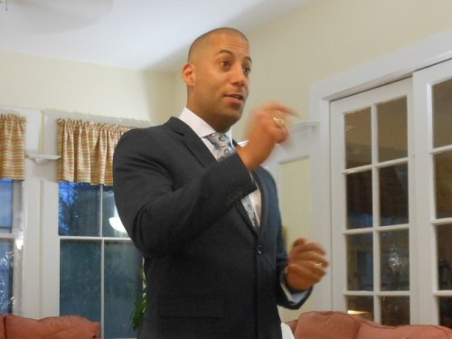 Montclair Third Ward Councilor Sean Spiller makes a point at his April 22 community meeting at the Montclair Inn