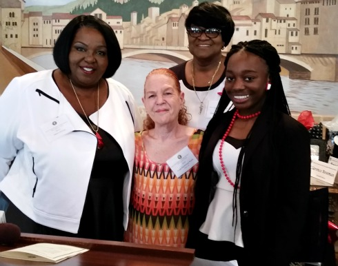 l-r: Jaklyn DeVore, Director Essex County Division of Senior Services; Robin Woods; Gloria Williams-Benoit, Division Senior Services; Adissa Simpore student at Cicely Tyson School of Performing Arts East Orange.