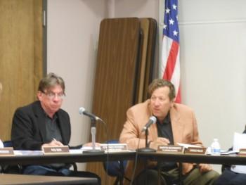 Montclair Planning Board member Martin Schwartz makes a point while Montclair Planning Board member Stephen Rooney listens.