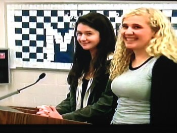 Lily Crandall (left) and Claudia Silver speak out at Montclair BOE meeting.
