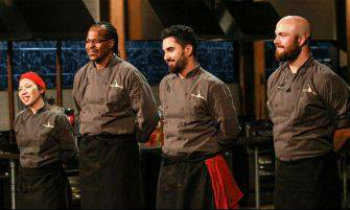 Meny Vaknin (second from right) competing on Chopped.