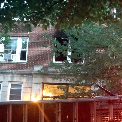 The second floor window where the fire started and quickly spread to third and fourth floor apartments.