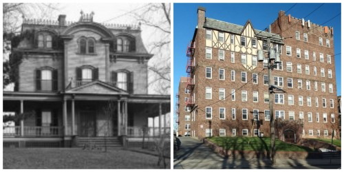 153 Franklin Street: A stately Second Empire Victorian home later replaced by an apartment building in 1930. (Old photo by Nathan Russell)