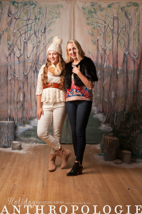 Nia Holton-Raphael (left) models an HD Paris lace top, Marta faux-fur cowl, AG Stevie ankle ivory corduroy pant, Sunland belt, Sidonie beanie and Splendid Palisade bootie. Her mom, Kimberly Holton, is sporting a Moulinette Soeurs velvet trimmed blouse, Alilina faux fur shrug, Paige Verdugo skinny jean, Dolce Vita sling back bootie.