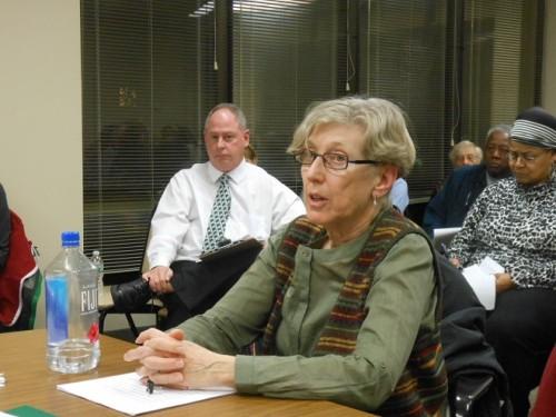Ann Lippel of the Montclair Senior Citizens Advisory Committee testifies before the Montclair Township Council as township arborist Steve Schuckman listens.
