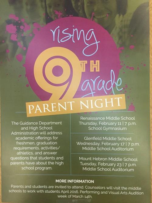 rising 9th grade parents nights