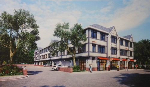 A rendering of the proposed mixed-use building ion Loraine Avenue, just west of Valley Road.